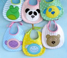 SALE - PDF ePattern for Baby Animal Appliques and Bib - Teddy, Panda, Dog, Monkey, Sheep and Frog Sewing Pattern via Etsy Softies, Sewing Toys, Baby Sewing, Apron Sewing, Couture Bb, Watermelon Baby, Easy Baby Blanket, Bib Pattern, Sewing Projects For Kids