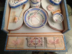 Antique French porcelain doll wash-set in presentation box