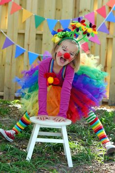 little girl clown costume with BabyLegs legwarmers in Rainbow made from organic cotton.