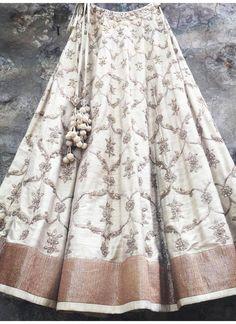 Buy Beige Raw Silk Lehenga Choli Online