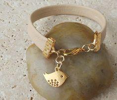 Cream Leather Bracelet with Gold Bird Charm by JustKJewellery, £10.00