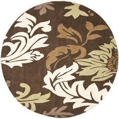 Safavieh Handmade Soho Bontanical Brown New Zealand Wool Rug (6' Round) (SOH831B-6R), Size 6'