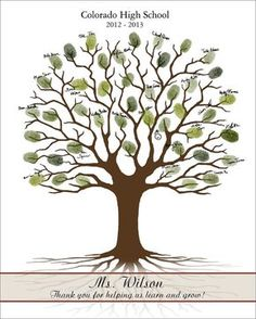 Gifts For Teacher Teacher Fingerprint Tree Printable by CustombyBernolli on Etsy Teacher Appreciation Gifts, Teacher Gifts, Thumbprint Tree, Fingerprint Art, Auction Projects, Craft Projects, Guest Book Tree, Presents For Teachers, Retirement Gifts