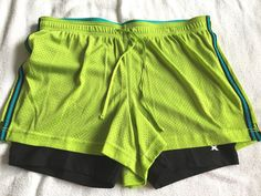 Xersion Layered Athletic Shorts Womens Large Fitness Running Workout Exercise  #Xersion #Shorts #layeredshorts #fitness #running