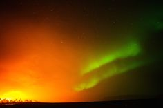 Incredible Close-Up Drone Video of an Erupting Volcano in Iceland | A rare view of the Holuhraun volcano eruption with simultaneous northern lights (aurora borealis) in the sky. Bardarbunga volcanic system, Iceland.  Eric Cheng  | WIRED.com