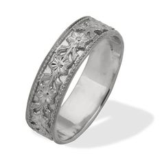 Art Nouveau Vintage Style Floral Wedding Ring 18K White Gold