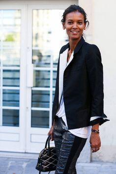 Love the blazer... Liya Kebede - Paris Street Style Photos - Spring 2015 PFW Street Style Pictures