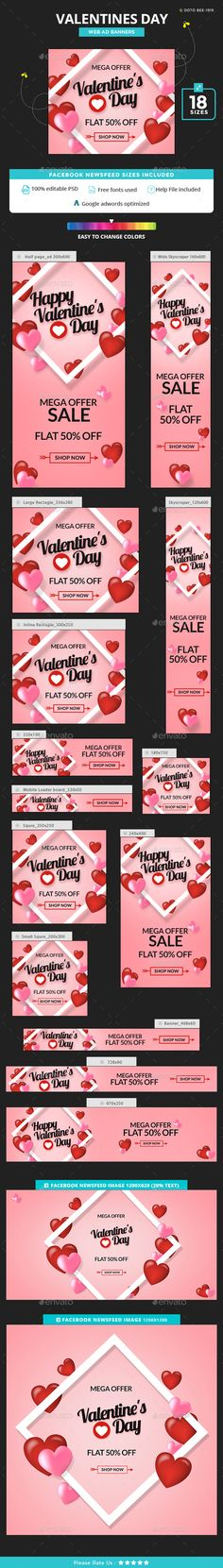Valentines Day Banners — Photoshop PSD #coupon #adroll • Available here → https://graphicriver.net/item/valentines-day-banners/19443177?ref=pxcr