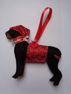 Handmade black felt Christmas Rottweiler dog hanging decoration by CraftyBunnyDog on Etsy