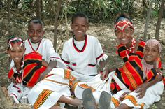 Ethiopian children in traditional Christmas dress