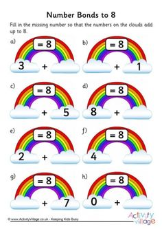 Rainbow Number Bonds Worksheet to 8