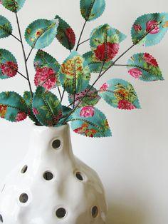 Fabric Leaves- Teal Blue Raspberry Butterfly Floral Branches (set of 3). $21.00, via Etsy.  Unique floral arrangement stems, vase filler, gift idea, wedding decoration