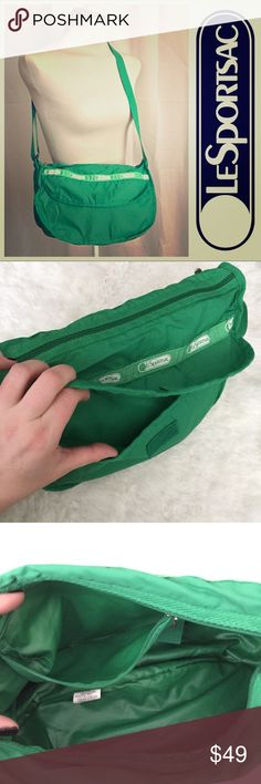"""Crossbody bag set in Kelly green. NWOT LeSportSac Kelly green bag set. Includes cross body bag & zippered pouch. NEVER USED- NWOT. Perfect condition. Bag has two exterior zippered sections, one interior zipper pocket, and an exterior Velcro pocket. Adjustable strap measures 52"""" total (hangs about 26"""") and can be shortened. Great for everyday or travel. Makes organization so easy!   🚫NO TRADES  I encourage offers and bundling! Lesportsac Bags Crossbody Bags"""