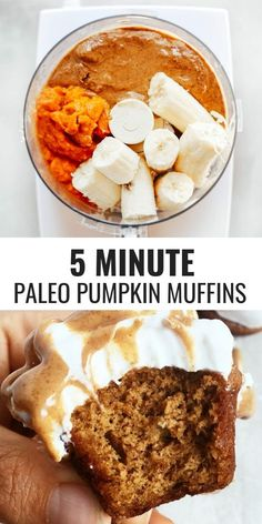 Recipe Chicken Fried Rice - How to Cook Chicken Fried Rice 5 Minute, 71 Calorie Paleo Pumpkin Spice Protein Muffins. Flourless Pumpkin Banana Muffins Make For Easy Meal Prep-Perfect For Cozy Fall Breakfasts Or Post Workout Fuel Naturally Sweetened, With A Bolo Paleo, Pumpkin Protein Muffins, Healthy Muffins, Healthy Protein, Paleo Banana Muffins, Protein Recipes, Sweet Potato Muffins, Protein Desserts, Oatmeal Muffins