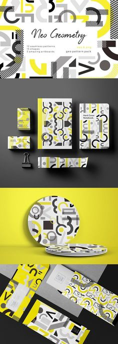 NEO GEO. Geometry pattern set. by lisa_kalev on @creativemarket   This collection of 'new view' on retro geometry shapes patterns. Included seamless patterns, blocks and amazing artboards. Mix and create anything from product packaging to branding. Ideal for stationery, print design and all you want!   #pattern #geometric #modern #background *affiliate