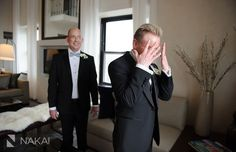 First look for the grooms! Real wedding at InterContinental Chicago | Nakai Photography