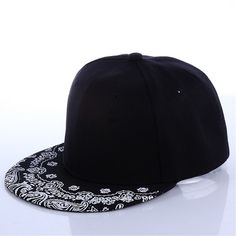 Pattern Black Hat New Fashion Man Women Summer Baseball Cap Sun Hat Adjustable Hip Hop Snapback Caps Hat Punk Fashion, New Fashion, Black Snapback Hats, Hip Hop Hat, Flower Hats, Paisley Pattern, Hat Sizes, Unisex, Jordan Sneakers