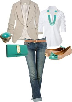 Blazer and jeans with a pop of color. LOVE