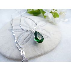 May Birthstone Necklace, Mother's Day Necklace, Emerald Green... (€35) via Polyvore featuring jewelry, necklaces, inspiredby10, sterling silver necklace, cz necklace, birthday necklace, birthstone jewelry and multi layer necklace