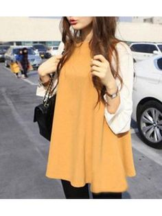 Woman Yellowish and White Color Matching Loose Tees Online Blouse Shopping, Latest Tops, Sammy Dress, Dress To Impress, Blouses For Women, Color Blocking, Long Sleeve Tees, Autumn Fashion, Shirt Dress