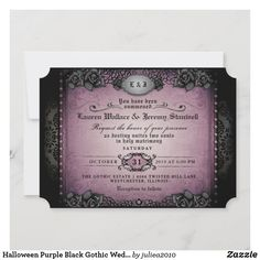 Halloween Purple Black Gothic Wedding RECEPTION Invitation Halloween Wedding Invitations, Wedding Reception Invitations, Unique Invitations, Wedding Invitation Design, Halloween Bride, Halloween Fun, Romantic Wedding Receptions, Ghost And Ghouls, Colored Envelopes