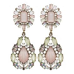 Jewel Statement Earrings - Pink Chandelier Earrings - $22 (29 CAD) ❤ liked on Polyvore featuring jewelry, earrings, jeweled earrings, jewels jewelry, party jewelry, chandelier jewelry and statement earrings