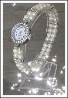 Womens Pearl Beaded Watch Band Diamante Rhinestone Wedding Favor Bridal Jewelry