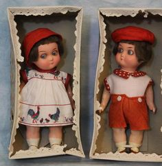 6.5 Inch German Heubach Koppelsdorf 439 Glass Eyed Googly Bisque Dolls Twins MIB