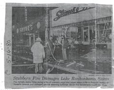 The fire of 1980. Hawkins Avenue, Lake Ronkonkoma, NY. Straub's Market, Prestano Bakery, and Fayne's Drugs all lost on May 16, 1980.