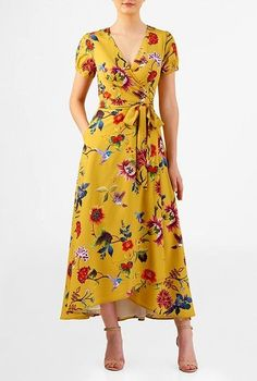 I this Floral bird print crepe wrap dress from eShakti Trendy Dresses, Casual Dresses, Summer Dresses, Floryday Dresses, Wrap Dresses, Flattering Dresses, Custom Dresses, Dress Outfits, Fashion Dresses