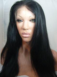 Beautiful Human Hair Blend Yaki Full Lace Front Wig 20-24inch #FullWig