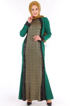 Pul Payet Tesettür Elbise Yeşil NB 2364
