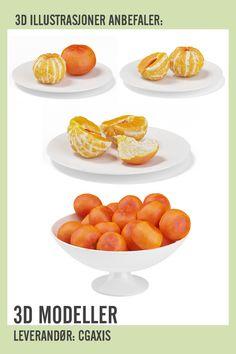 Halved Tangerine on White Plate White Plates, 3 D, Scale Model, White Dinner Plates, White Dishes
