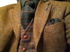Tweed on tweed on tweed Tweed Men, Tweed Suits, Tweed Jacket, Vest Coat, Wool Vest, Der Gentleman, Gentleman Style, Sharp Dressed Man, Well Dressed