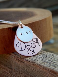 Stamped Anniversary Necklace Personalized Gift by SheJustSaidYes, $23.00