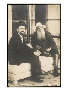 Anton Chekhov with Leo Tolstoy