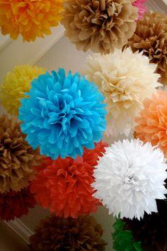 Custom Colors ... 15 tissue paper poms // wedding by PomLove, $55.00