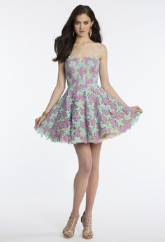 Camille La Vie Lace Applique Skater Prom Dress