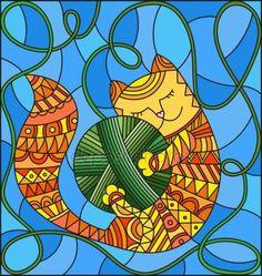 Скачать - Иллюстрация в стиле витражи с красной смешные кошки, обнимая мяч зеленый потока на синем фоне — стоковая иллюстрация #159182118