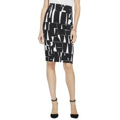 Vince Camuto Print Scuba Knit Pencil Skirt ($89) ❤ liked on Polyvore featuring skirts, rich black, black knit skirt, long pencil skirt, stretch pencil skirt, black skirt and knee length pencil skirt