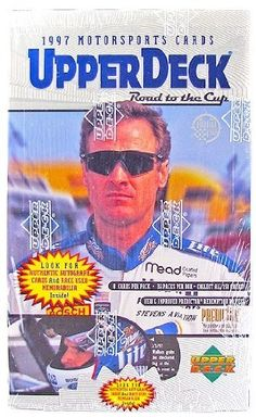 1997 Upper Deck Road To The Cup Racing Retail Box by Road To The Cup. $32.95. This box is packed with great cards!!! Inserts galore plus great drivers make this a product to get!!! 36 Packs Per Box, 8 Cards Per Pack Inserts: Cup Quest Green - numbered to 5000 Cup Quest White - numbered to 1000 Cup Quest Checkered - numbered to 100 Million Dollar Memoirs 1:23 Million Dollar Memoirs Autographs 1:299 Piece of the Action 1:1117 Predictor Plus 1:11 Premiere Position 1:2