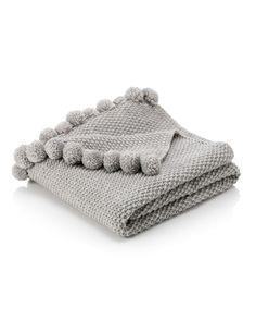 Pom-Pom Knitted Throw | M&S