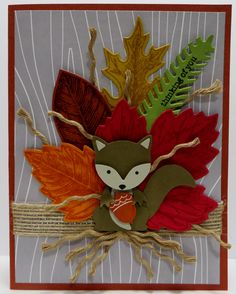 Stampin' Up Thinking of You card created by Lynn Gauthier using SU's Foxy Friends, Vintage Leaves, Teeny Tiny Wishes and Hey There Stamp Sets (Hey There - Paper Pumpkin 2013), Leaflets Framelits and Pretty Pines Thinlits Dies and Fox Builder Punch. Go to http://lynnslocker.blogspot.com/2016/10/stampin-up-foxy-friends-teeny-tiny.html to see how this card was made.