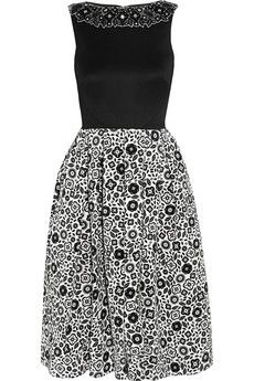 Holly Fulton Embellished wool and printed silk-crepe dress | NET-A-PORTER