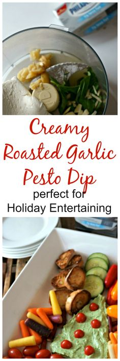 Creamy Roasted Garlic Pesto Dip: A vibrant and fresh cream cheese dip that is studded with roasted garlic, fresh basil and Kraft Philadelphia Cream Cheese. This dip comes together in minutes and is the perfect appetizer for any get together. #NaturallyCheesy #ad