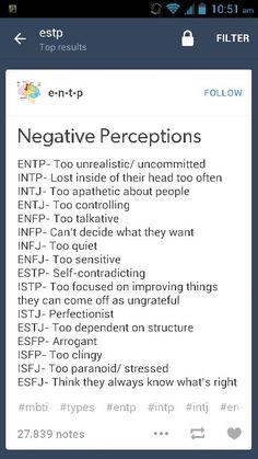 MBTI Negative Perceptions.