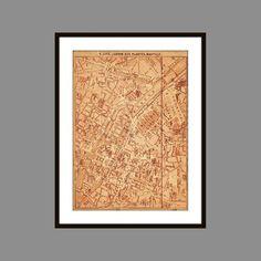 Antique Paris City Map Art Print Cité Jardin by CarambasDigital, $20.00