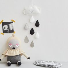 Cute black and white wall decoration or mobile for a nursery or child's bedroom. This item is made entirely by hand and includes a fluffy white cloud with sleep