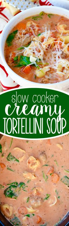 This Slow Cooker Creamy Tortellini Soup is an easy filling dinner that is PACKED with flavor!