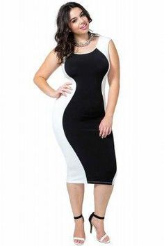 2beff5f12391 A GACI Plus+ Online Exclusive Show off that smokin  figure! A two-toned  bodycon dress featuring a scoop neck and back. Looks amazing with with  strappy heels ...